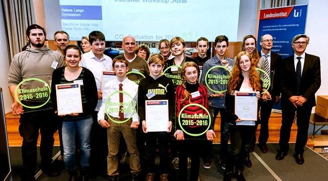 Gütesiegelverleihung Klimaschule 2015-2016