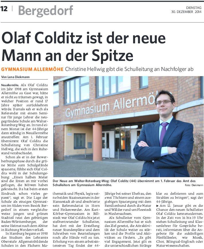 Bergedorfer Zeitung stellt neuen Schulleiter vor